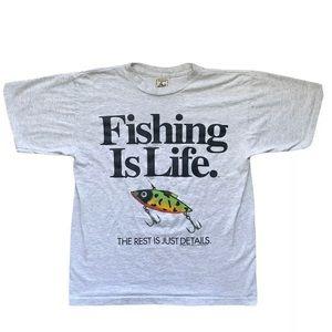 Vtg 1994 Fishing Is Life Big Ball Sports T-Shirt